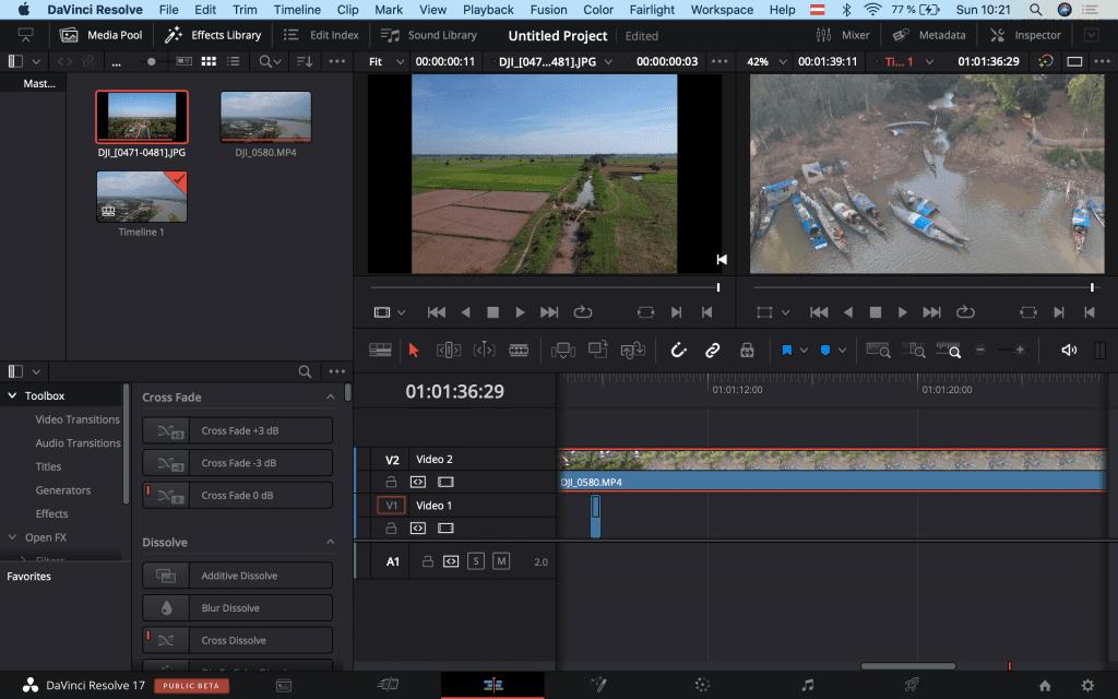 screenshot of da vinci resolve video editing platform