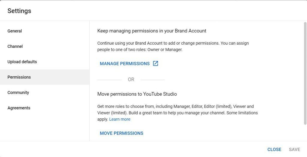 YouTube Studio - channel manager access for brand accounts