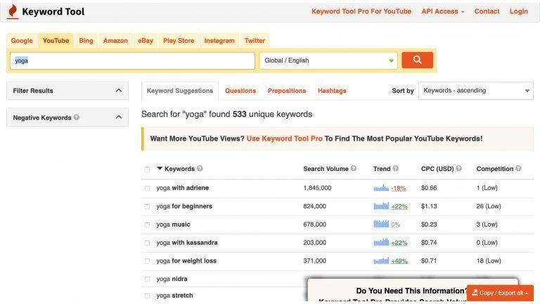 search for YouTube content ideas on keywordtool.io