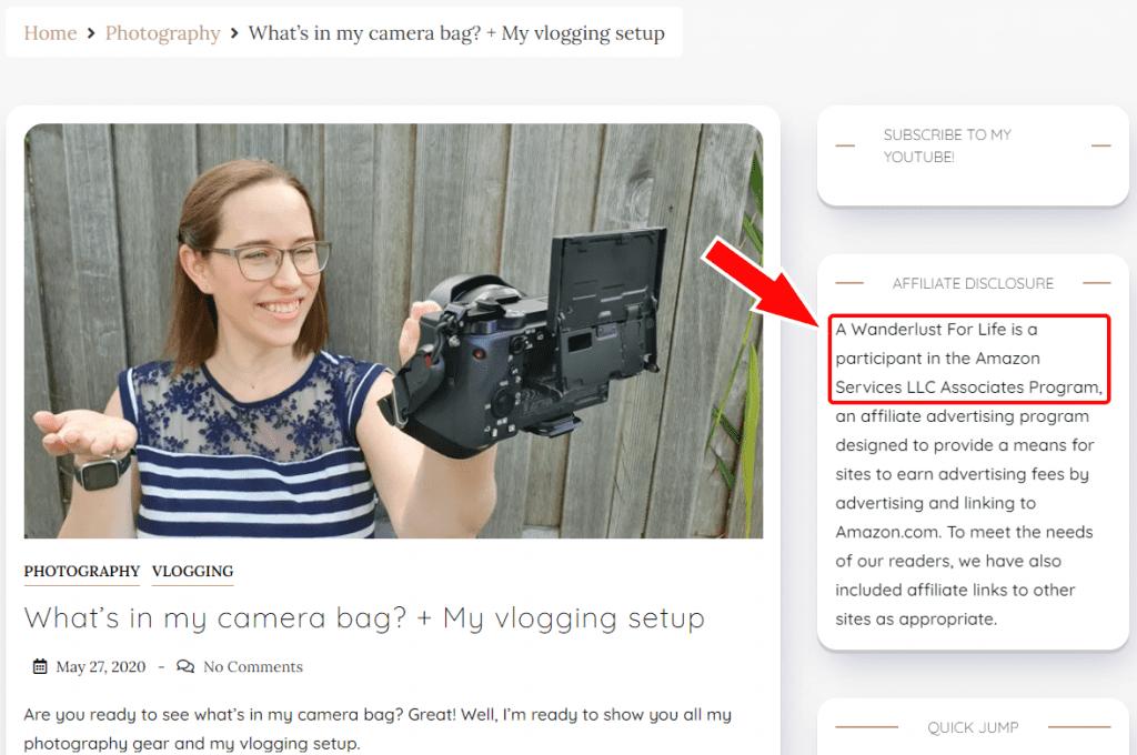 blog post showing affiliate disclosure