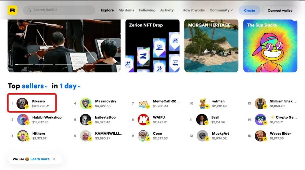 sales statistics on rarible.com. creator dikasso took top spot on the day shown