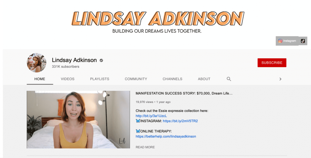 lindsay adkinson channel page