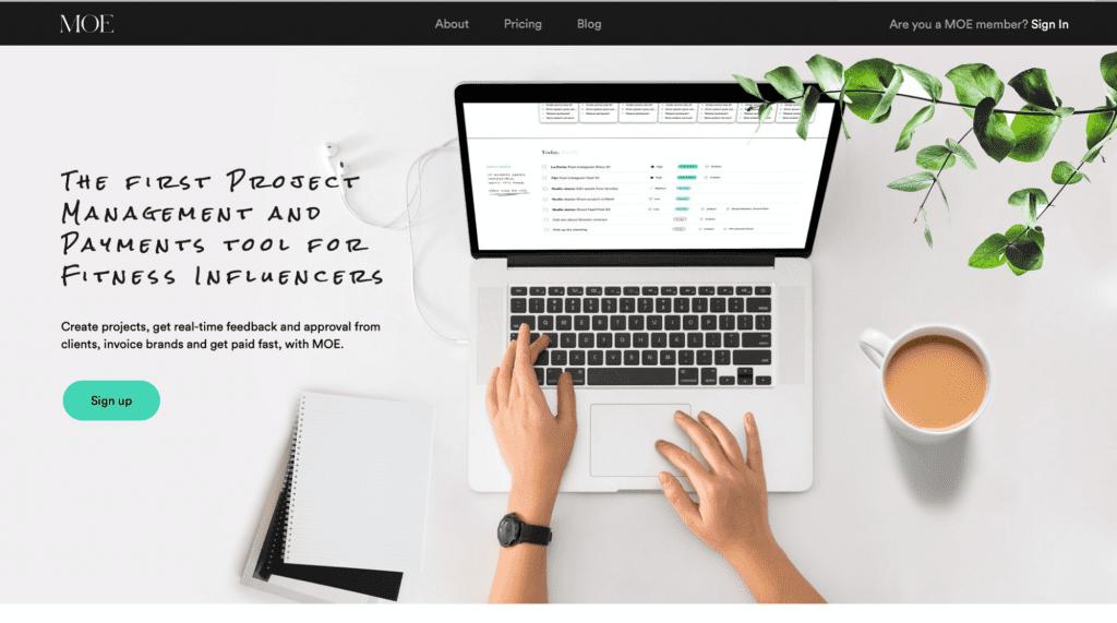 screenshot of moeassist, a project management tool for creators