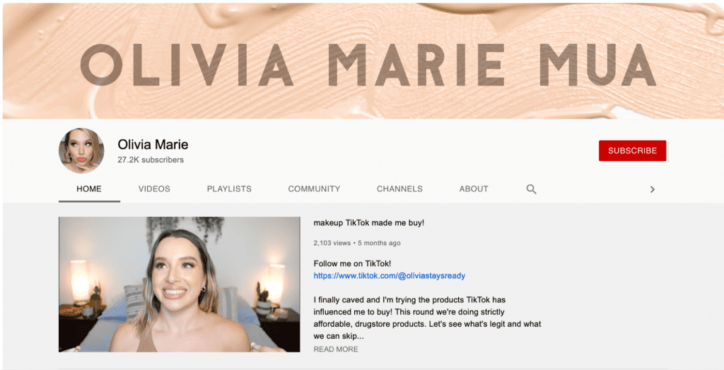 olivia marie mua channel page