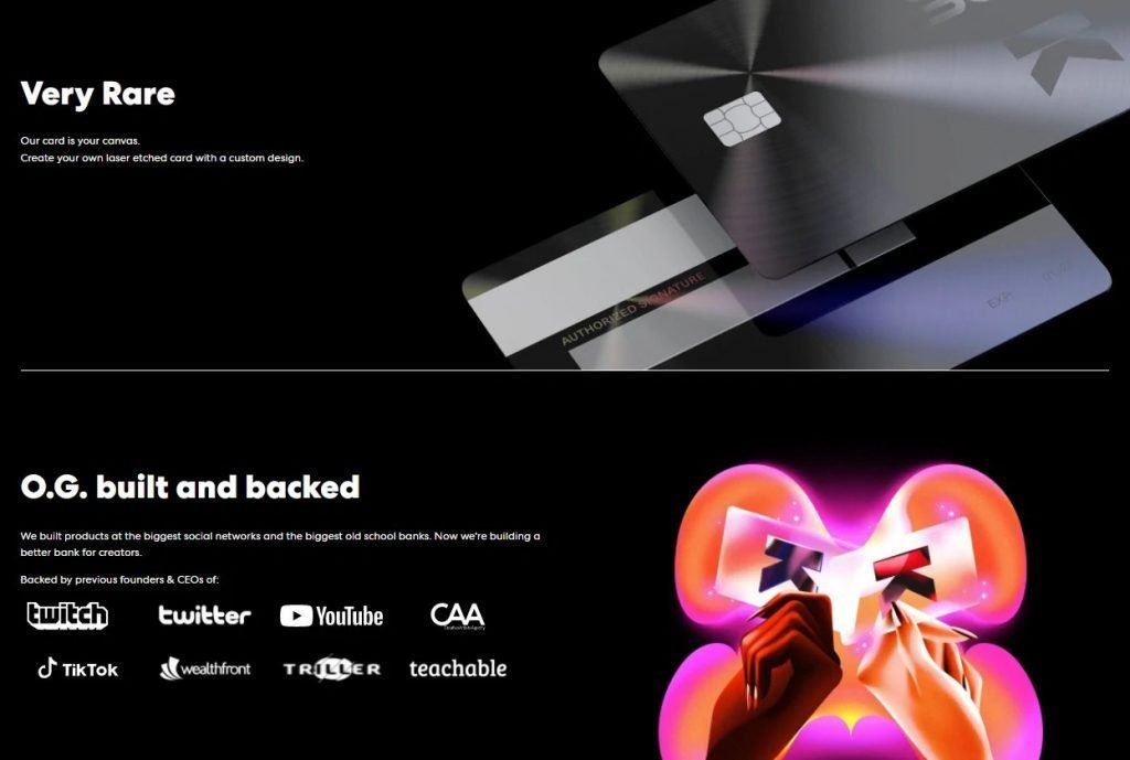 karat website screenshot. it offers credit cards for the creator economy ecosystem