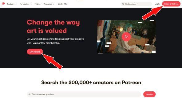 patreon homepage - sign up options