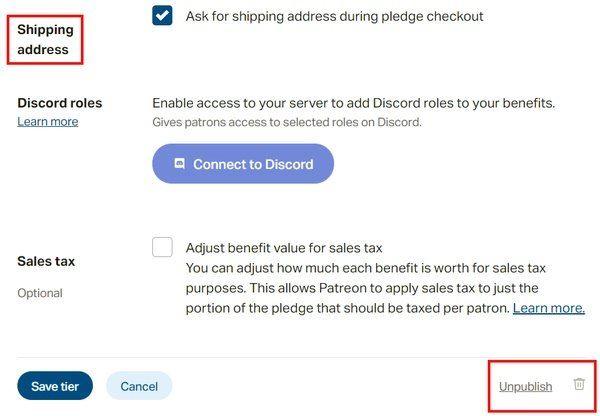 tier settings: discord and miscellaneous. also, the un-publish button.