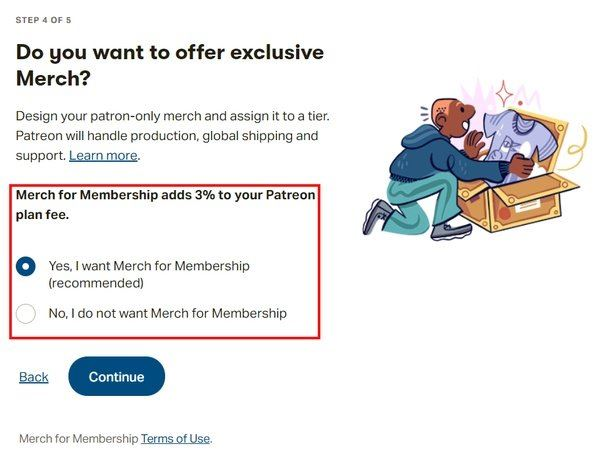 option to offer merch for membership