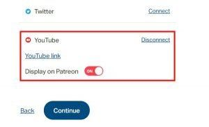 youtube successfully connected to Patreon