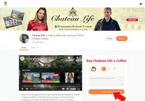 Chateau Life did create a buy me a coffee page for their youtube channel