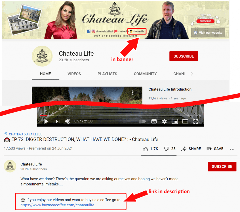 Chateau Life's youtube channel page, with buy me a coffee links