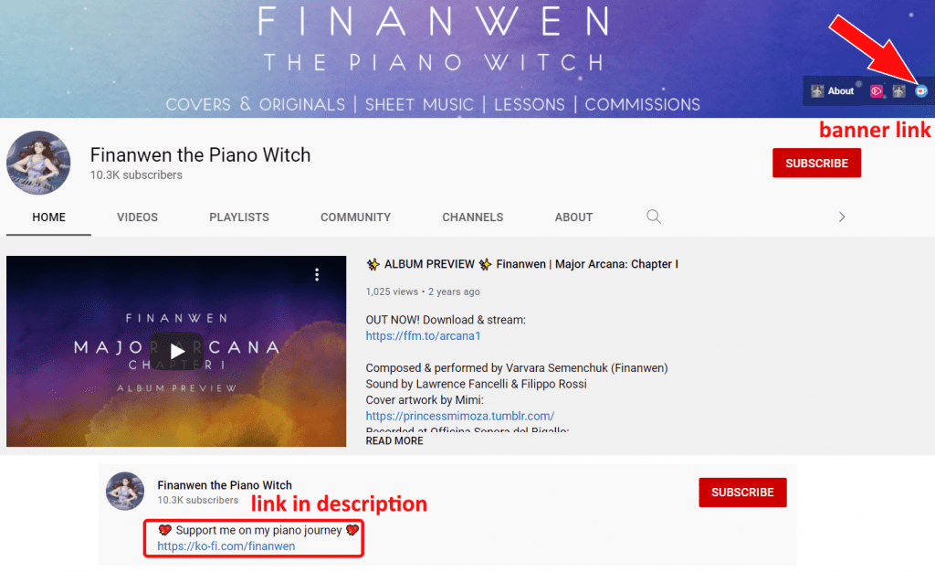 Finanwen's Youtube Channel, showing links to the ko-fi page she created
