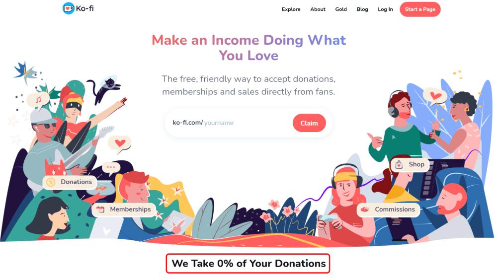 ko-fi homepage